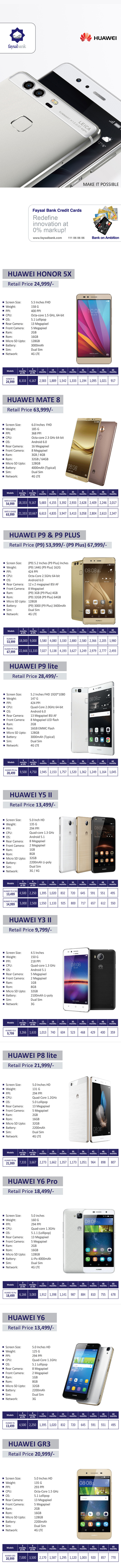 Huawei Smartphones 0% Installment Plan - Faysal Bank